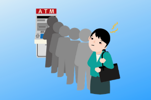 ATMで並ぶ人